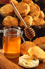 Honey pot and bread