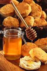 Honey pot and bread