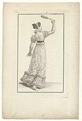 19th century woman playing badminton
