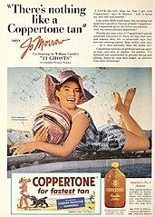 advertisement for Coppertone sun tan lotion