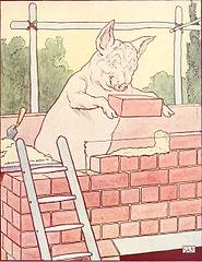 pig building brick house