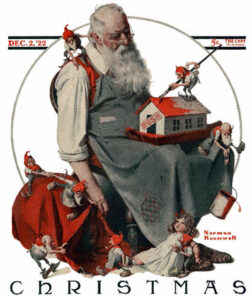 Santa with elves and toys