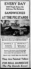 Advertisement for Pig Stand