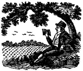 Man reading under a tree. 1826 illustration