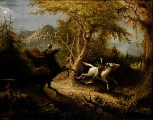 Headless Horseman chases Ichabod