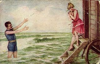 Man and woman in bathing costumes