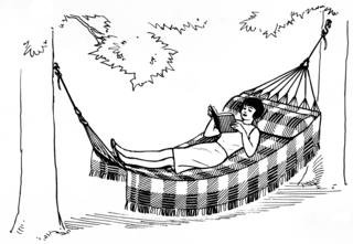 Female reading in hammock