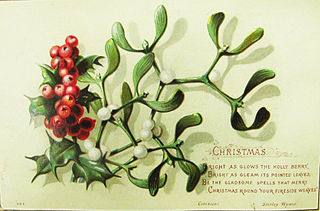 card with holly and mistletoe