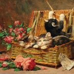 Basket with flowers and kittens