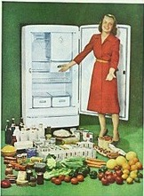 Advertisement for a GE refrigerator