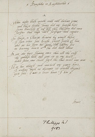Manuscript for Sonnet 1 Pamphilia to Amphilanthus