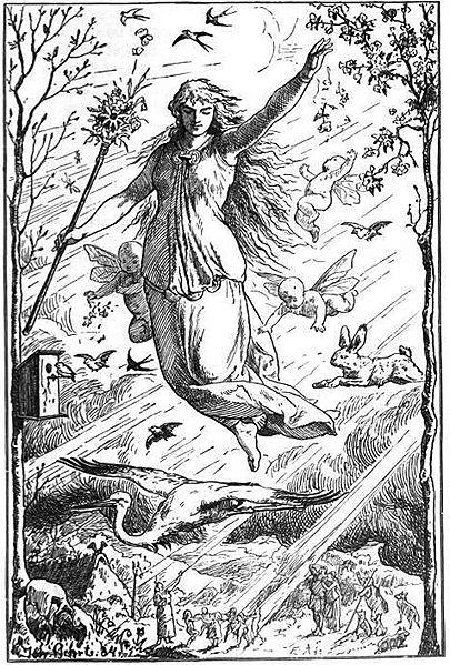 Ostara, Goddess of Spring, Drawn by Johannes Gehrts. Public Domain. Wikimedia Commons