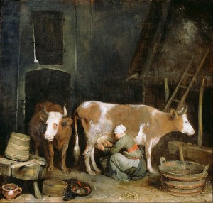 628px-Gerard_ter_Borch_(Dutch_-_A_Maid_Milking_a_Cow_in_a_Barn_-_Google_Art_Project