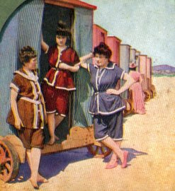 Women by a bathing machine