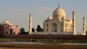Taj Mahal facing across the Yamuna River