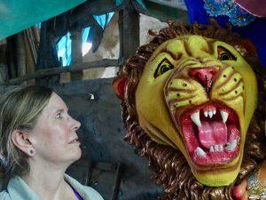calcutta. me mtg lion in durga puja image