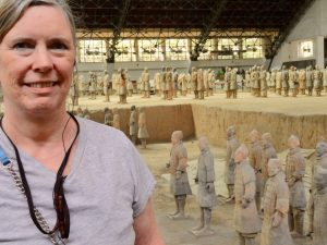 I'm standing in front of terra cotta warriors in Pit 1