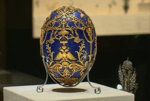 Faberge egg on display at Virginia Museum of Fine Arts. Public Domain. Wikimedia Commons