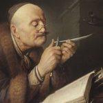 Gerrit Dou: Man sharpening pen