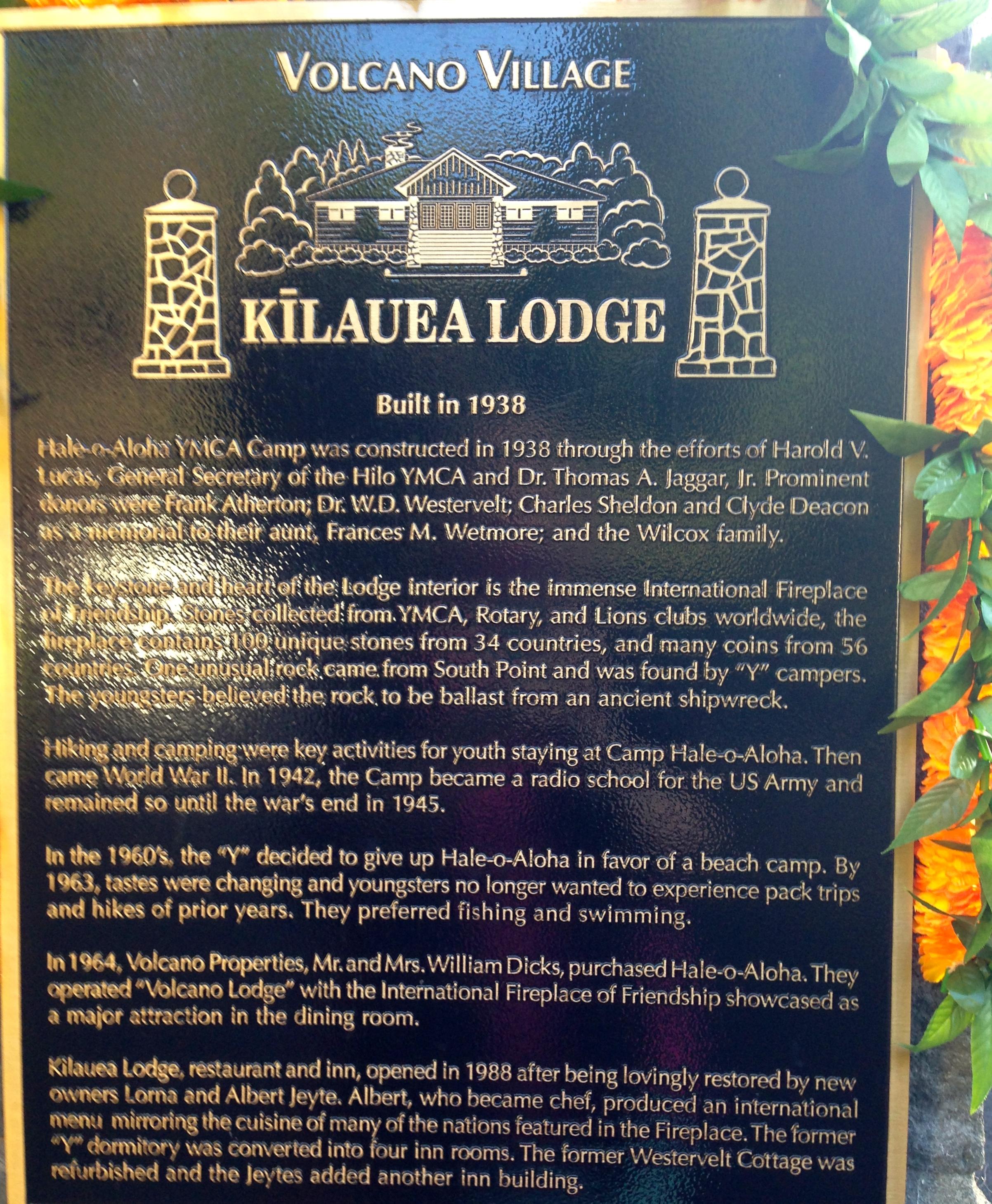 kilauea lodge u0026 the fireplace of friendship sandra wagner wright