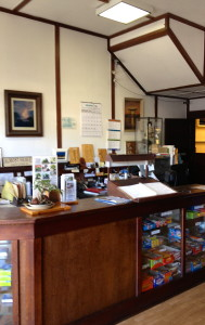 Front Desk at the Manago Hotel, Capt. Cook HI