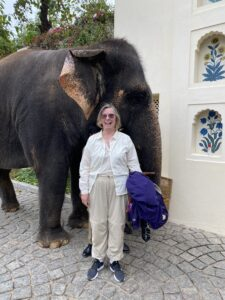 I'm standing with Lakshmi, the elephant