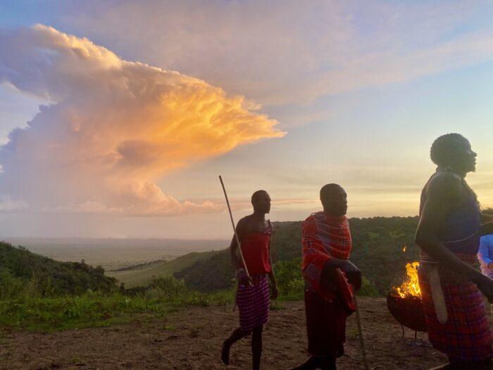 masai warriors at sunset