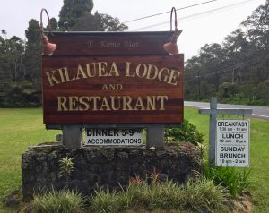 Sign for Kilauea Lodge