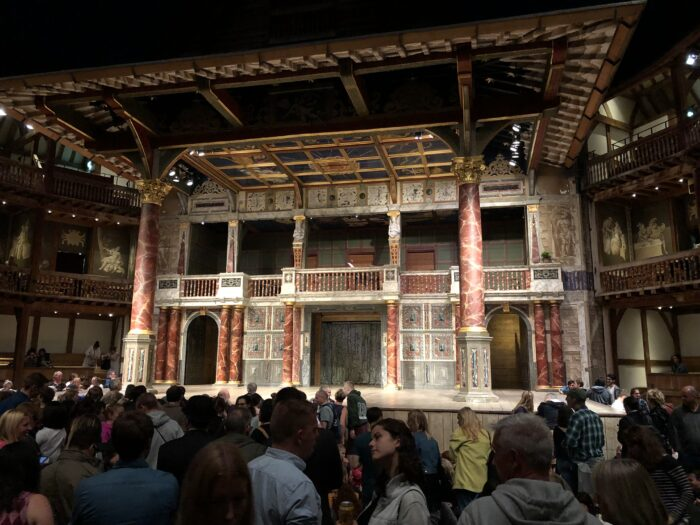 View across the pit to the stage of Shakespeare's Globe