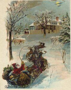 1870 postcard of Santa and reindeer