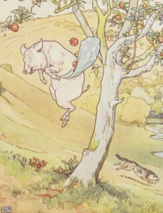 pig in apple tree