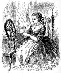Katrina at her spinning wheel
