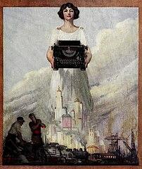 allegorical image of typewriter, 1923