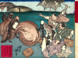 woodcut: Rainy Day Tanuki