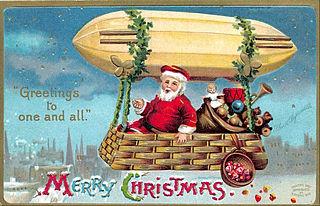 Santa travels by zeppelin