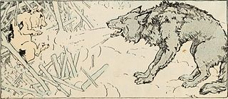 wolf blows down stick house